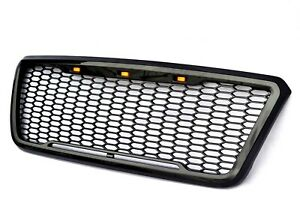 Raptor Style For 04 08 Ford F150 Glossy Black Grille Conversion W 3 Led Lights