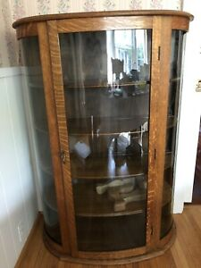 Antique Vintage Oak Curved Glass China Cabinet With Lock Key