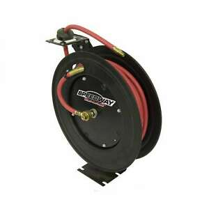 Speedway Retractable Air Hose Reel With 3 8 Inch X 50 Ft Black