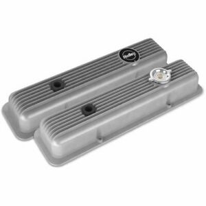 Holley 241 134 Muscle Series Valve Covers Small Block Chevy Finned Natural Finis