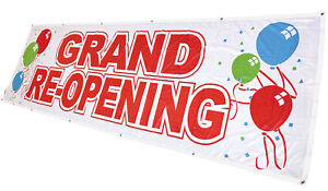 3x10 Ft Grand Re opening Banner Sign Wb Polyester Fabric