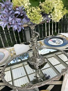 English Sheffield Silver Plate Oval Mirrored Plateau 23 Inches Oval