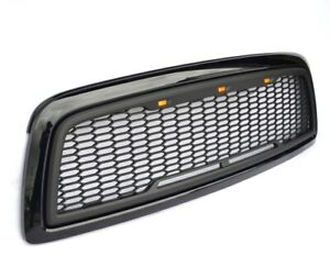 Replacement For 09 12 Dodge Ram 1500 Glossy matte Black Grille W 3 Led Lights