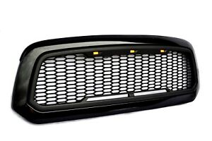 Replacement For 13 18 Dodge Ram 1500 Glossy Matte Black Grille W 3 Led Lights