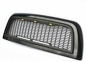 Replacement For 10 18 Dodge Ram 2500 3500 Glossy Matte Black Grille W Led Lights