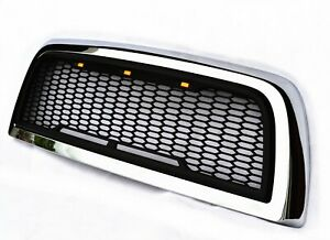 Replacement For 10 18 Dodge Ram 2500 3500 Chrome matte Black Grille Wled Lights