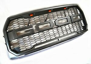 Grey Raptor Style Replacement Front Grille 2015 2017 Ford F150 With 3 Led Lights