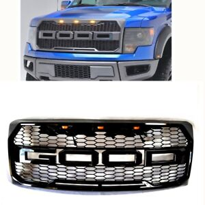 Painted Glossy Black Raptor Style Replacement Grille 09 14 Ford F150 Led Lights