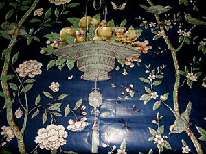 Antique French Or English Chinoiserie Floral Bird Chintz Fabric Blue Celadon