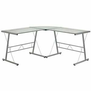Inmir Glass L shaped Glass Computer Desk With Metal Frame Silver Large