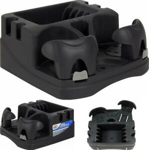 Center Console Storage For Car Front Back Floor Cup Holder 3 Compartments Black