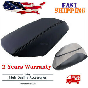 Fit For 11 19 Ford Explorer Black Real Leather Center Console Lid Armrest Cover