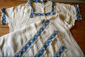 Antique Linen And Blue Lace Trim Humble Dress As Found Restore Or For Fabric