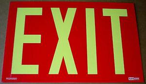 Exit Sign Photoluminescent Fosforescent Glow In Dark No Power Ul Code Approved