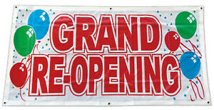 2x4 Ft Grand Re opening Banner Sign Store Retail Polyester Fabric Wb