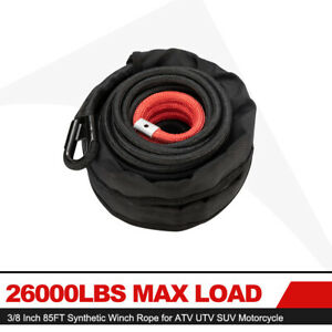 26000lbs Max Load 3 8 Inch 85ft Synthetic Winch Rope For Atv Utv Suv Motorcycle