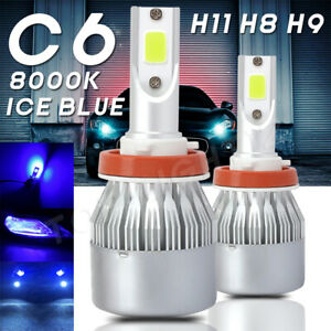 H8 H9 H11 Ice Blue 120w 20000lm Led Headlight Bulbs Conversion 8000k Hi Low Beam