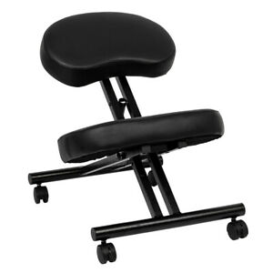 Ergonomic Kneeling Chair Pu Iron Adjustable Mobile Padded Seat And Knee Rest New