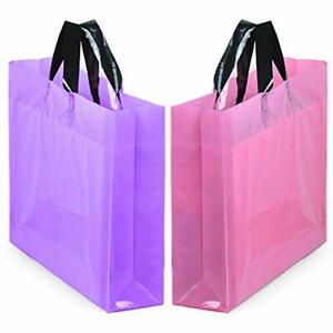 50pcs 14 X 18 Large Merchandise Bags With Handles With Bottom Gusset Pink And