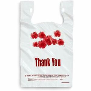 1000ct Red Daisy Flower Thank You Large T shirt Carry Out Bags 11 5 X 6 25 21