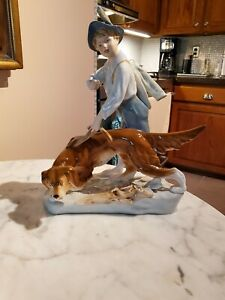 Large Vintage Royal Dux Boy Hunting With Dog Porcelain Figurine