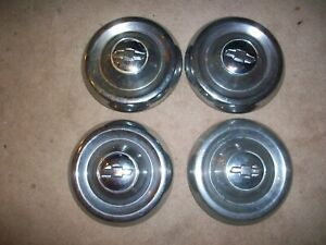 1955 1956 Chevrolet Chevy Truck 4 Oem 10 Dog Dish Hubcaps 55 56