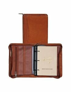 Scully Canyon Leather 3 Ring Zippered Monthly Weekly Planner Agenda Brown