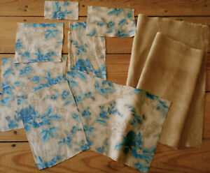 Antique Early Blue Floral Chintz Walnut Dye Cotton Fabric Pack For Projects