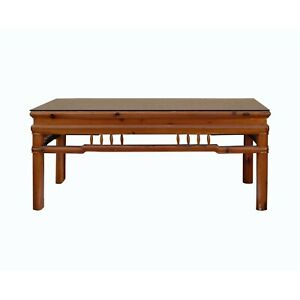 Rectangular Glass Top Coffee Table With Chinese Old Windows Panel Design N397