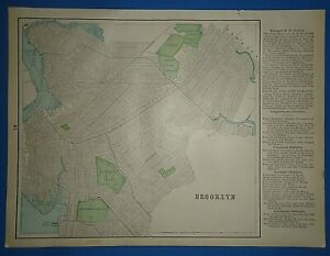Vintage Circa 1898 Brooklyn New York Map Old Antique Original Atlas Map