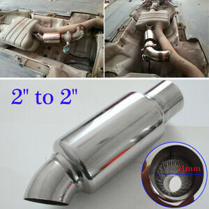Stainless Steel Car Exhaust Pipe Resonator Silencer Muffler 2 Inlet To 2outlet