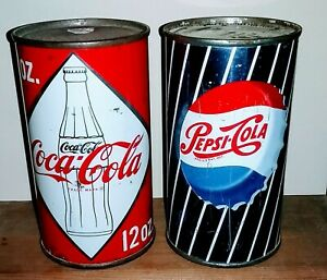 Flat top Pepsi & Coca Cola cans -Awesome Vanity Lids, Rare & Beautiful c1959 X 2