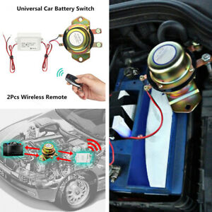 Wireless Remote Auto Car Battery Disconnect Cut Off Switch 2 Remote Control Kit