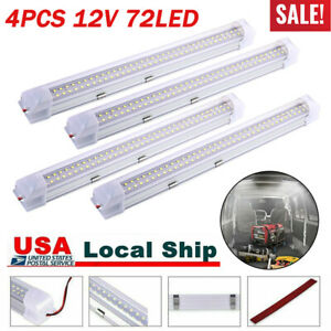 4x 72 Led Interior Light Strip Bar Car Van Bus Caravan On Off Switch 12v 12 Volt
