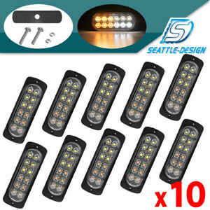 10x Amber white Truck 12 Led Emergency Safety Flash Warning Strobe Light Kit Bar