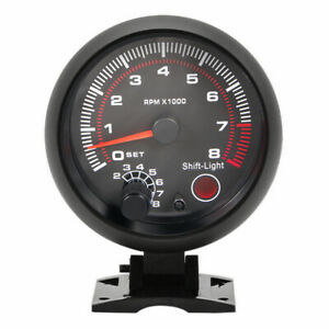 95mm Universal Car Tachometer Tacho Gauge Meter Led Light 0 8000 Rpm 12v Usa