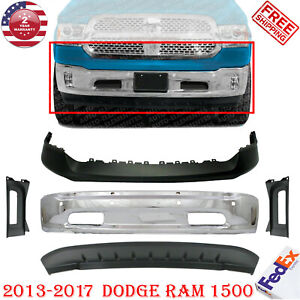 Front Bumper Chrome Up Low Cover Bezel For Dodge Ram 1500 2013 17 W Sensor Hole