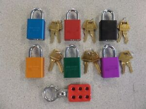 American Lock Safety Lockout Set Of 6 Aluminum A1105 Padlocks And Master Hasp