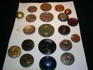 Vintage Antique Buttons 20 Celluloid Buttons Celluloid City Titled Card