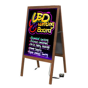 Wood A Frame Illuminated Erasable Neon Led Message Writing Board Menu Sign New