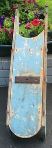 Antique Wooden Iron Old Blue Paint Sled Endless Uses