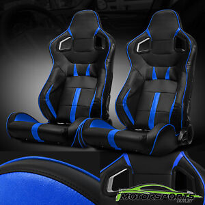 Black Blue Reclinable Pvc Main Side Design Left Right Sport Racing Seats Slider