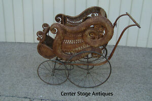 60209 Antique Victorian Wicker Baby Carraige Stroller