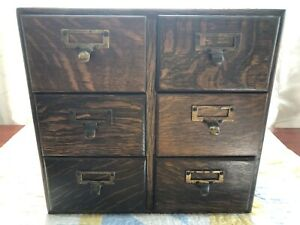 Vintage Macey Oak File Drawers Library File Index Card 6 Drawer Dovetail Cabinet
