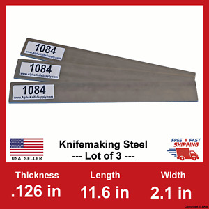 1084 Carbon Steel Bar Billet 1 8 In X 11 6 X 2 1 Lot Of 3 Billets 126