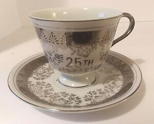Vintage Norcrest Fine China 25th Anniversary Tea Cup And Saucer Silver C 406