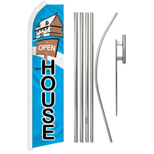 Open House Flag And Pole Kit Swooper Feather Super Real Estate Realty