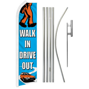 Walk In Drive Out Advertising Swooper Flutter Feather Flag Kit Car Dealership