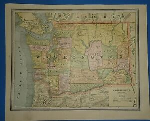 Vintage Circa 1886 Washington Territory Map Old Antique Original Atlas Map