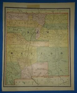 Vintage Circa 1886 New Mexico Territory Map Old Antique Original Atlas Map
